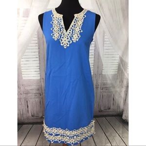 Mud Pie Blue Cream Embroidered Dress Sz Small 4-6